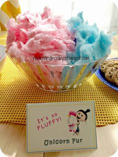 RACKS and Mooby: Despicable Me Minion Party It's so fluffy! Cotton candy for minion birthday party! Rainbow Unicorn Party, Unicorn Themed Birthday Party, Unicorn Birthday Parties, First Birthday Parties, Birthday Party Decorations, 7th Birthday Party For Girls Themes, Birthday Party Snacks, Birthday Banners, Farm Birthday