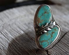 OOAK Turquoise Ring . Vintage Kingman Turquoise . Sterling Silver . Handcrafted . Size 6.75 - Size 7