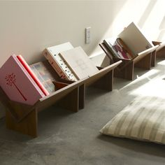 floor book shelf from BOOK / SHOP. so cute for little ones, or on a modern desk! woodshop project?