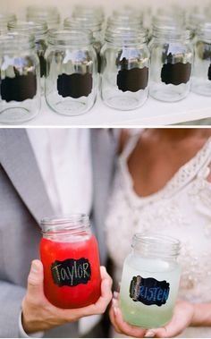 blackboard paint on jar glasses--likey this idea  and guest's can take them home!