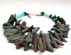 Polymer Clay Jewelry, Statement Necklace, Multi colored with Turquoise and Wood beads on Etsy, $75.00