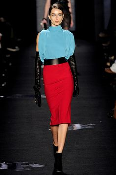 DVF Fall 2012 RTW I want a pair of long black leather gloves..chic