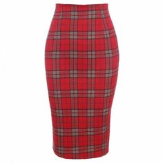 Pair this lovely skirt with your favorite tops. This features plaid detail, high waist that emphasize your sexy curve, hidden side zipper closure and back thigh split. Crafted from polyester material.