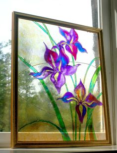 How to paint a Faux Stained Glass Window using non-toxic glass paint and puff paints on an old picture frame. By MaryElizabethArts.com