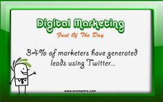 Fact of the day-Evomantra  34% of marketers have generated leads using Twitter!  http://www.evomantra.com/blog/category/twitter-marketing