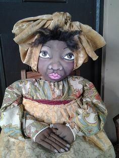 Primitive Black Folk Art Doll created by Krista Harris of Painted Heart Designs.