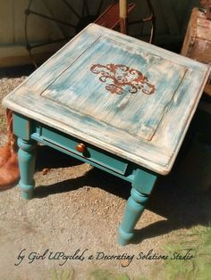 Table in shabby chic boho distressed Chalk Paint finish with details in Copper glaze. $225.00, via Etsy.