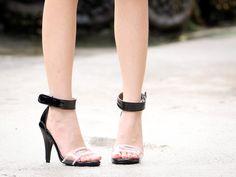 Transparent / ankle strap heels