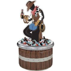 It's high noon somewhere & time to grab a drink! This Inflatable Ring Toss Cowboy Cooler adds extra fun to your western theme party with the inflatable bucket and cowboy at the center. Blow up the rings and take turns tossing them around the cowboy's arm while your beverages cool in the vinyl bucket. Easy to inflate sturdy and reusable this cowboy drink cooler is a great addition to a western party!  Inflatable Ring Toss Cowboy Cooler includes:  Beverage cooler 53in tall 2 inflatable rings 7 Cowboy First Birthday, Rodeo Birthday Parties, Country Birthday Party, Rodeo Party, Cowboy Theme Party, Cowboy Party Games, Western Party Games, Cowboy Birthday Cakes, Game Party