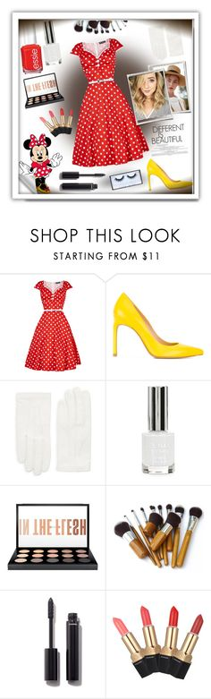 """""""Minnie Mouse"""" by switchkid ❤ liked on Polyvore featuring Stuart Weitzman, Valentino, Topshop, Gaia, MAC Cosmetics, Chanel and Huda Beauty"""