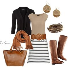 black and white stripe skirt w/ beige/tan/camel top, black blazer and brown/camel accessories