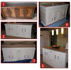 Steps to making your own kitchen island.  1. Find an old buffet server (found this one on kijiji)  2. Sand and Paint it  3.  Build it up from the bottom as needed to bring it up to countertop height.  4. Add trim to finish off the added piece & paint to match.  5. Attach a large enough countertop to have an overhang at the back for barstool seeting!
