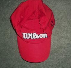 Men's Red, Black & White WILSON SUNGLASS FIT Embroidered Hat, Adjustable Strap #WILSONSUNGLASSFIT #BaseballCap