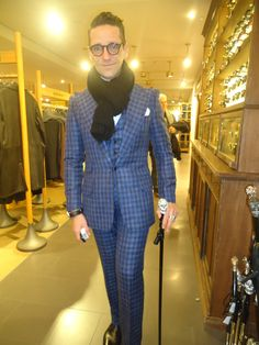silk and wool 3 piece blue black  gingham suit Milano/Italy
