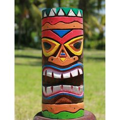 This Tall colourful wooden WIKI TIKI totem pole has been personally  handmade for Siiren by a wonderful family of talented American Indian  influenced artists ...