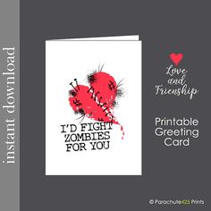 Love Card I Love You Card Love Cards Zombie Card Walking Dead