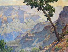 """Lone Sentinal-Grand Canyon."" Gunnar Widforss  Watercolor. 20"" x 24"". C.1930.  Courtesy of Henry Lockett."