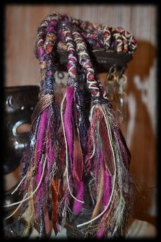 Fiber Fairy #Dreadlock #Hair Wraps - Wine Country - Rust Purple Brown Pink Jute - #Alluvium13