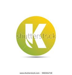 initial letter k creative circle logo typography design for brand and company identity. gradient green and yellow color