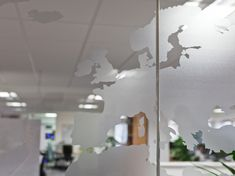 Manifestation graphic at Verisk Maplecroft office. Designed by Interaction, UK. Bright Office, Office Relocation, Frosted Window Film, Window Graphics, Workplace Design, Office Designs, Window Design, Case Study, Spa