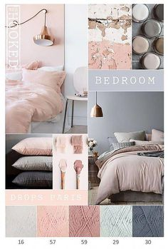 2018 bedroom colours grey pink copper in 2019 Room decor, Blush bedroom, Bedroom colors Grey, pink, rose gold bedroom. I like the greenary. Suites, Trendy Bedroom, Modern Bedroom, Dream Bedroom, Pink Master Bedroom, Bedroom 2018, Bedroom Sets, Bedroom With Couch, My New Room
