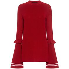 Mother Of Pearl - Rubi Ruffled Long Sleeve Sweater ($650) ❤ liked on Polyvore featuring tops, sweaters, flounce tops, ruffle top, long tops, red top and red long sleeve top