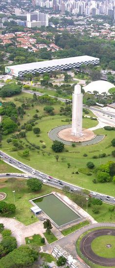 Ibirapuera Park from above. Pictured in the scene: the obelisk in homage to the 1932 Revolution, Oca exhibition hall and Bienal building (the later 2 by famous Brazilian architect Oscar Niemeyer). São Paulo, Brazil