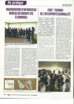 Inauguration d'un nouveau bureau du Groupe SFC à Condrieu. Article du magazine Le Tout Lyon du 25 Avril au 1er Mai 2015.