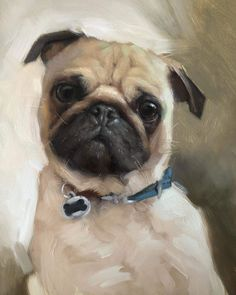 Wildlife Paintings, Animal Paintings, Pug Art, Painting Process, Watercolor Animals, Pug Love, Dog Portraits, Types Of Art, Beautiful Artwork