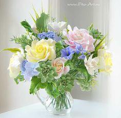 Букет Lovely Garden. Цветы из полимерной глины. Екатерина Звержанская.