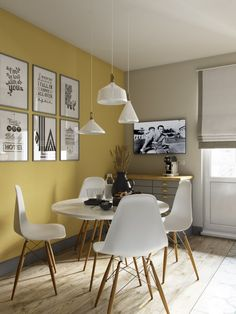 I love this interior design! It's a great idea for home decor. Home design. Yellow Dining Room, Living Room Colors, House Design, Interior, Dining Room Decor, Living Room Decor, House Interior, Room Decor, Room Interior