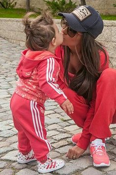 Mummy and baby matching track suits  How cute!