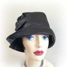 a5e2b50495064 Black Satin Cloche Hat - 1920 s Evening Wear Hat - The Alice. Women HatsFedorasFlapper  StyleCloche HatBucket HatVintage ...