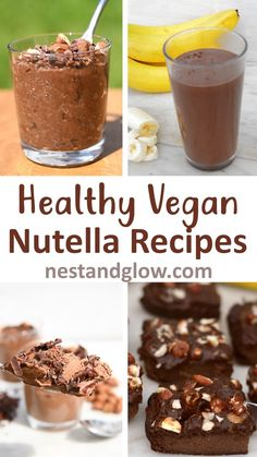 Healthy Vegan Nutella Style Chocolate And Hazelnut Recipes - made from natural whole ingredients with the taste of nutella but free of dairy palm oil sugar and loaded with nutrition. Includes recipes for fudge chia pudding banana bread mousse milkshake Vegan Dessert Recipes, Fudge Recipes, Gourmet Recipes, Dinner Recipes, Vegan Recipes Videos, Vegan Recipes Easy, Delicious Recipes, Healthy Nutella Recipes, Smoothie Bowl