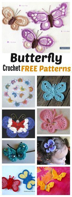 Lots of butterfly Crochet FREE patterns
