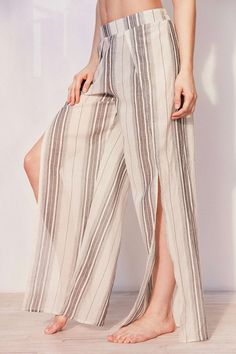 Coveted // Out From Under Side Slit Beach Pant. Pointy Flats, Lace Wrap, Beach Pants, Beige, Lace Up Sandals, Spring, Skirts, Summer, How To Wear