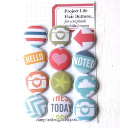 HONEY Project Life Flair Buttons or Badges  by CampfireDesigns, $8.50