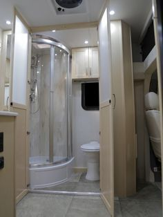 The New Pleasure-Way Plateau XLTD. It has an elegant corner shower but the whole van is only 22' long. Another RV based on the Mercedes Sprinter.