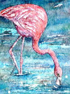 """Lunch Time"" watercolor batik on ginwashi rice paper."