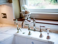 rohl perrin & rowe bridge kitchen faucet with sidespray tall