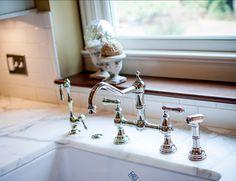 Kitchen Faucet. Kitchen Faucet Ideas. This kitchen faucet is a Perrin & Rowe bridge faucet with sidespray by Rohl. #Kitchen #KitchenFaucet #RohlKitchenFaucet
