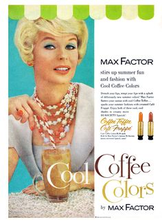 "Vintage Max Factor ""Cool Coffee Colors"" lipstick ad from August 1960 PHOTOPLAY"