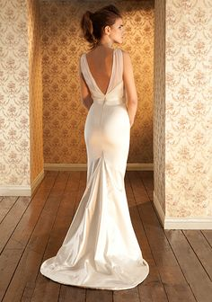 The Liane  dress by Sabina Motasem http://www.motasem.co.uk/ Stretch duchess satin wedding dress with fishtail shape skirt and train.