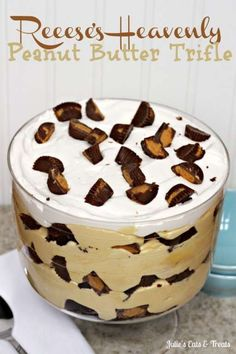 Peanut Butter Lovers will unite over this Reese's Heavenly Peanut Butter Trifle ~ Peanut Butter Pudding with Layers Of Brownies and Reese's Peanut Butter Cups!
