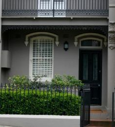 Interesting that the security bars are different colours to match the doors and windows Terrace House Exterior, Victorian Terrace House, Facade House, Victorian Homes, House Facades, House Exteriors, House Exterior Color Schemes, Grey Exterior, House Paint Exterior