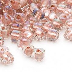 Seed bead, Miyuki, glass, clear color-lined light rose, (