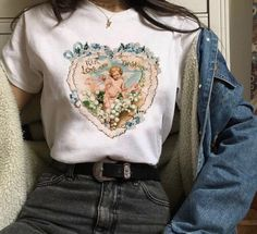 Love and Devotion Tee Soft cotton tee available in three . Read more The post Love and Devotion Tee appeared first on How To Be Trendy. Aesthetic Fashion, Aesthetic Clothes, Look Fashion, Girl Fashion, Aesthetic Outfit, Korean Fashion, Aesthetic Indie, Aesthetic Shirts, Aesthetic Style