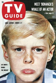 """TV guide Jay North of """"Dennis the Menace"""" March 1960 History Of Television, Vintage Television, Before I Forget, Dennis The Menace, Vintage Tv, Vintage Stuff, Old Shows, Tv Land, Old Magazines"""