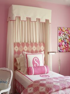 Katie by Design - girl's rooms - pink bedroom, bed valance, kids bed valance, headboard valance, kids headboard valance, cotton candy pink, ...