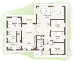 Saknar alltid ett rum... Så här vi vill ha vårt drömhus på 1-plan. Small House Plans, House Floor Plans, Story House, My House, Bungalow, One Story Homes, My Dream Home, Rum, Home Goods